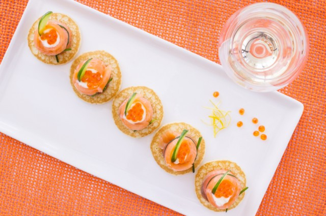 Potato blini, quinoa, smoked salmon