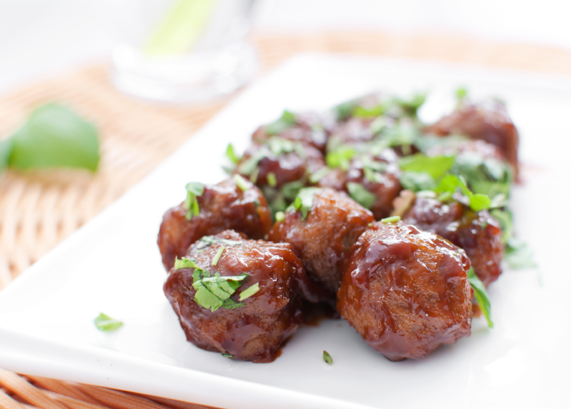 barbecue meatballs on a plate