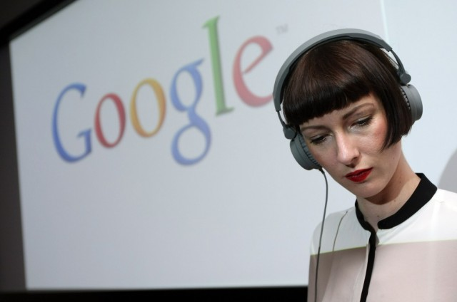 A Google employee testing out some newfangled gadgetry