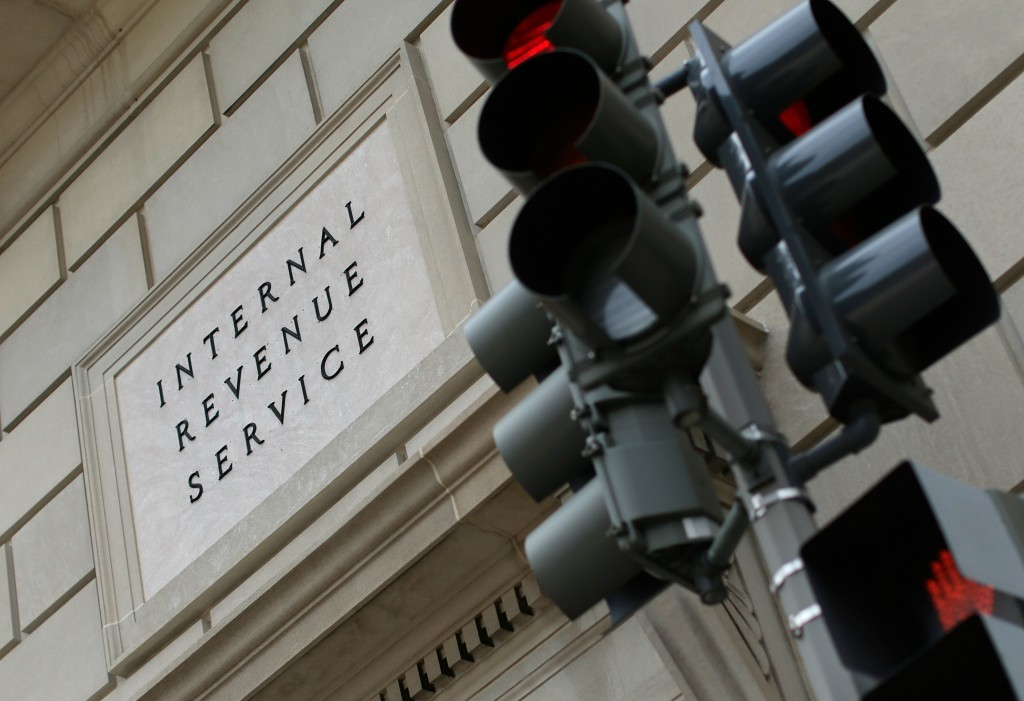 A IRS sign on building