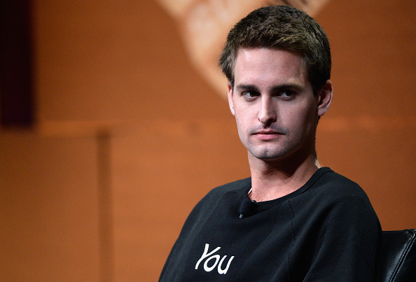 """SAN FRANCISCO, CA - OCTOBER 08:  Snapchat CEO Evan Spiegel speaks onstage during """"Disrupting Information and Communication"""" at the Vanity Fair New Establishment Summit at Yerba Buena Center for the Arts on October 8, 2014 in San Francisco, California.  (Photo by Michael Kovac/Getty Images for Vanity Fair)"""
