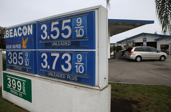 Gas prices displayed on a sign