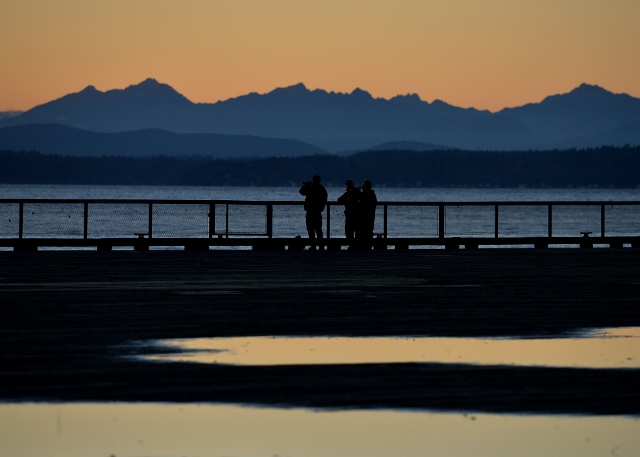 The Olympic Mountains seen from the Seattle waterfront