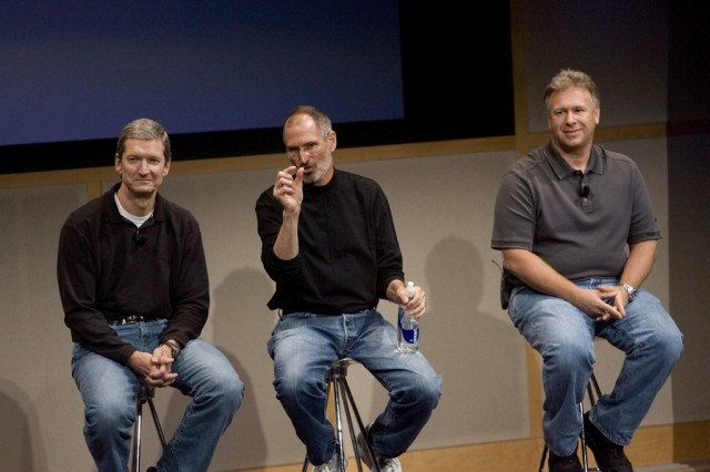 Tim Cook, Chief Operating Officer, Apple CEO Steve Jobs and Phil Schiller, EVP Product Marketing, answers questions after Jobs introduced new versions of the iMac and iLife applications August 7, 2007 in Cupertino, California