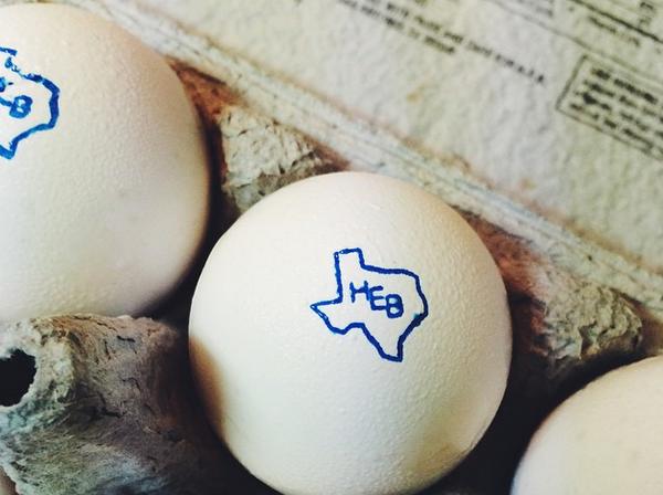 HEB Logo on eggs