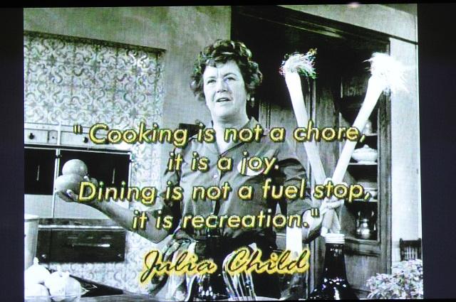 Julia Child's photo and quote.