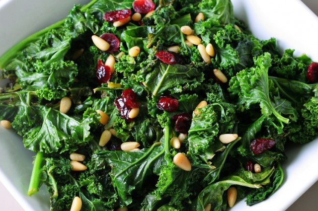 Kale salad with craisins and pine nuts
