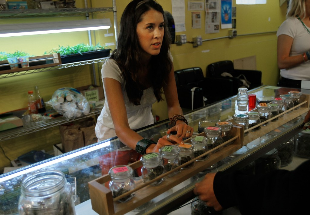 A lady selling legal marijuana in Colorado