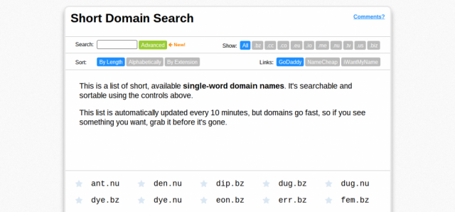 Short Domain Search