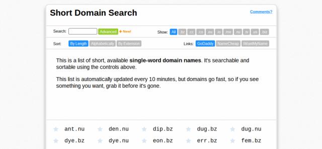 Short Domain Search