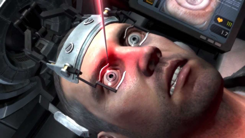 A needle is about to go into the hero's eye in this dark, twisted game.