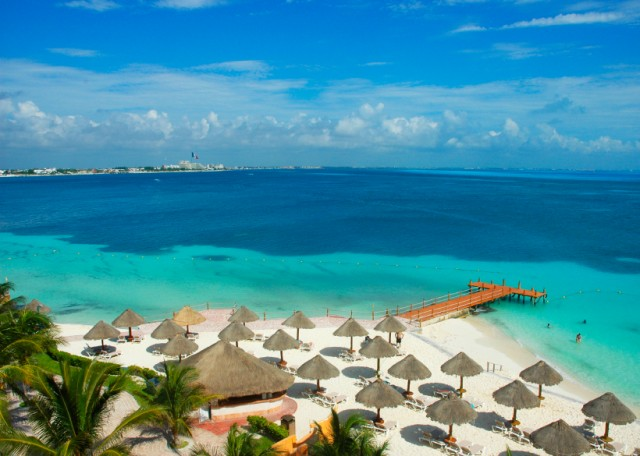 A view of a beach in Cancun.