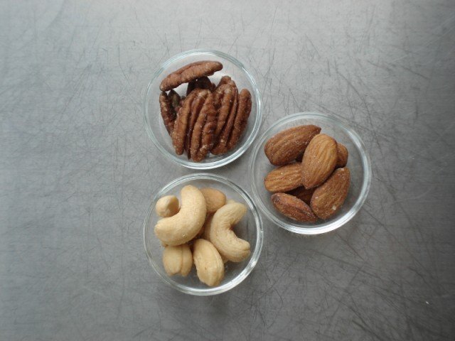 Cashews, almonds, pecans
