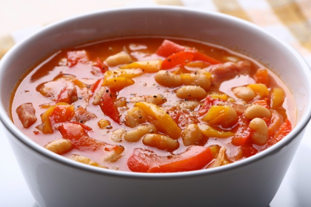 close-up of a bowl of vegetable and bean soup