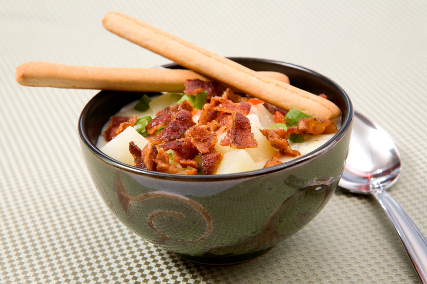 Potato Soup with bacon topping