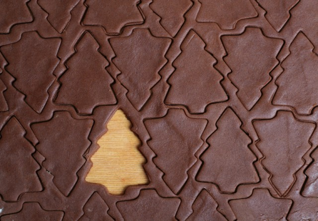 Christmas tree cookie cutter, dough