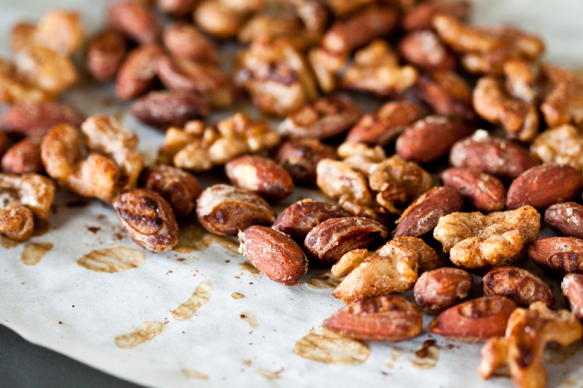roasted almonds and cashews