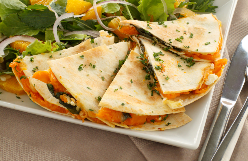 Sweet potato and kale quesadillas