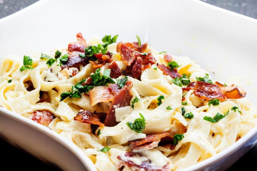 Bacon Tagliatelle pasta, pancetta noodles