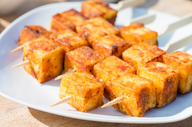 Paneer, cheese, skewer, appetizer