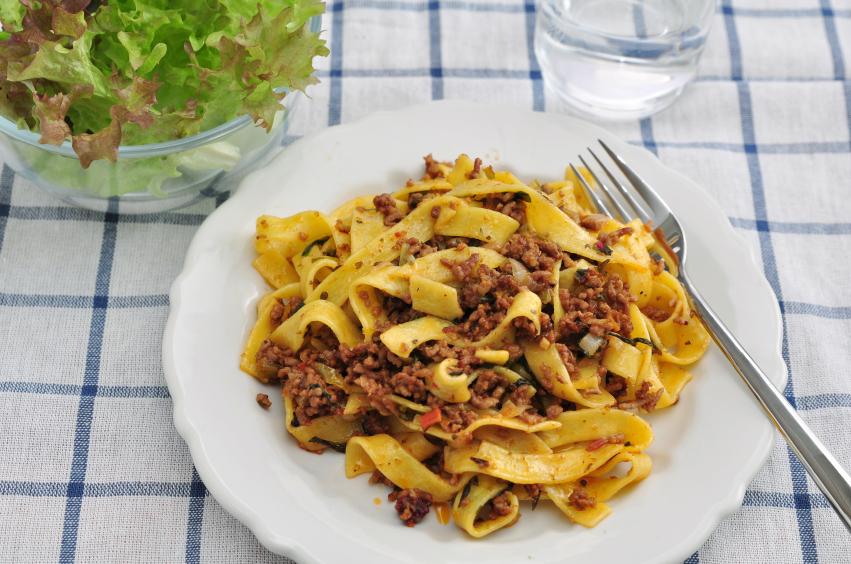 Tagliatelle, Pasta Bolognese, meat sauce