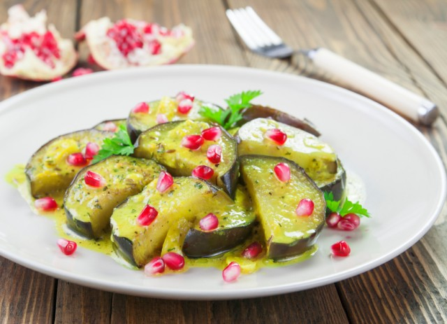 Eggplant with pomegranate and cumin