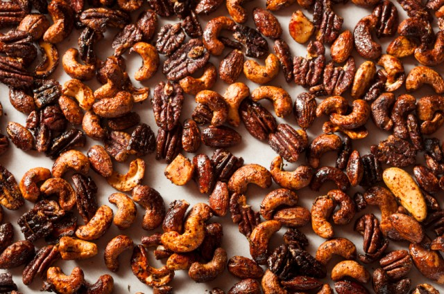 Brown Candied Spiced Caramelized Nuts