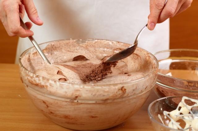 Mixing cocoa, sugar, chocolate, baking