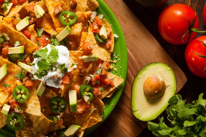 Nachos with Cheese and Vegetables