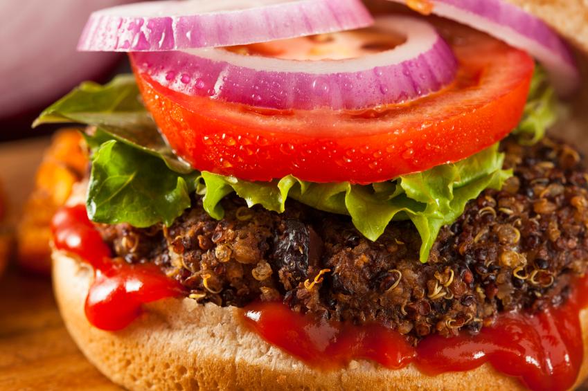Vegetarian Quinoa Burger with Lettuce and Tomato