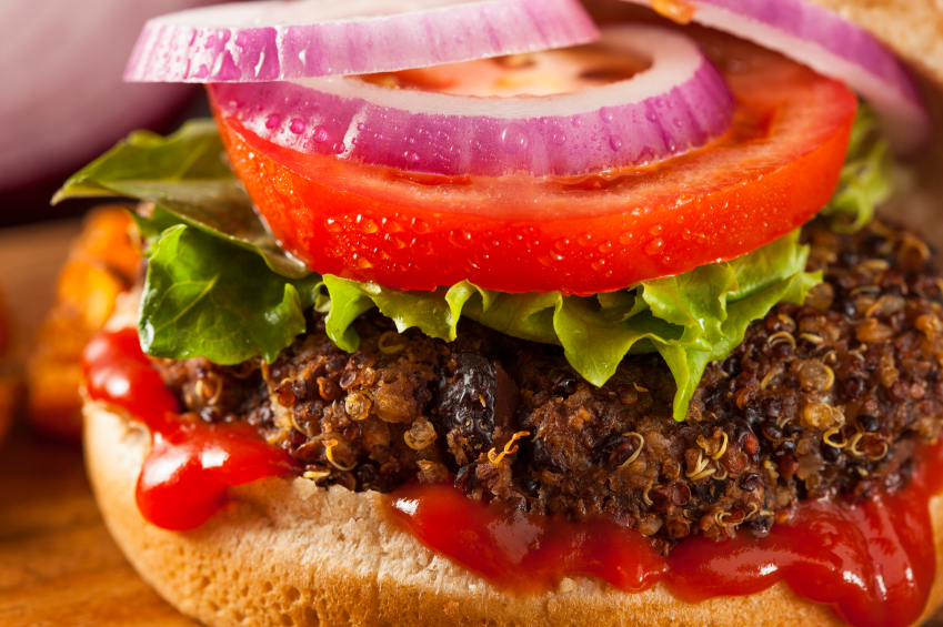 Vegetarian Quinoa Burger with Lettuce and Tomato