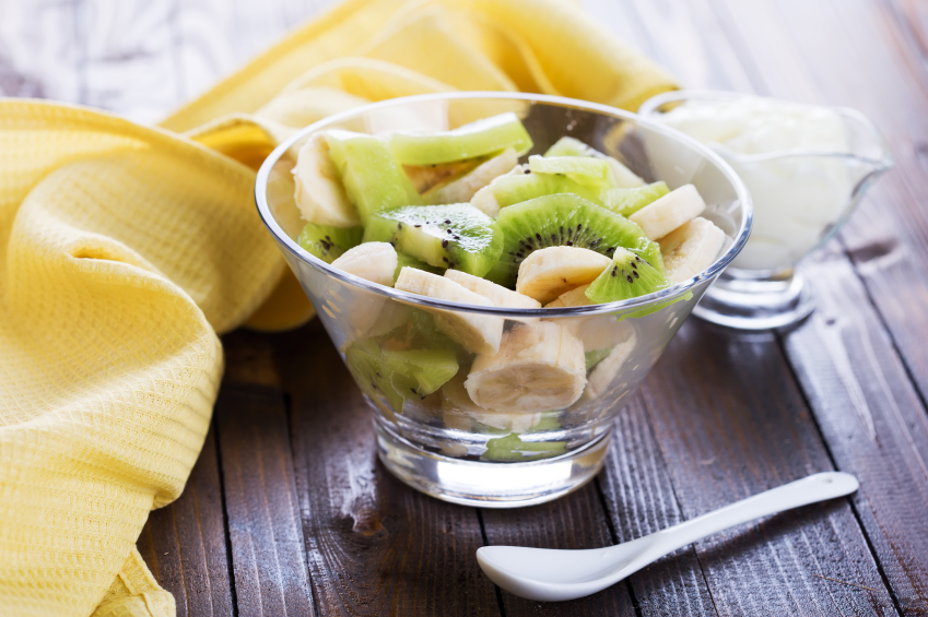 Fruit salad, banana and kiwi in bowl