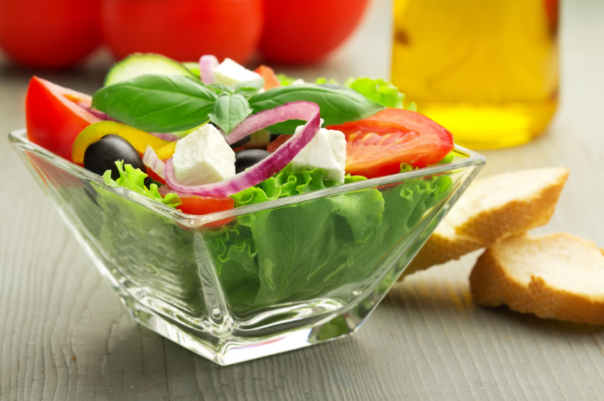 greek salad, lettuce, tomatoes, onions