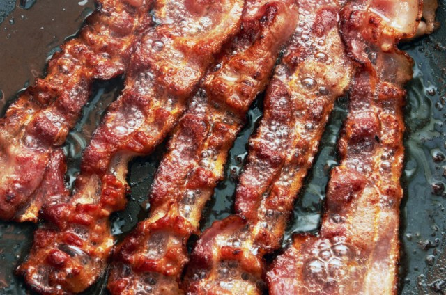 Bacon slices, frying pan
