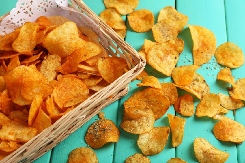 Homemade barbecue potato chips