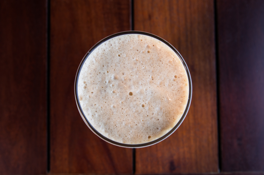 milkshake photographed from the top of the glass