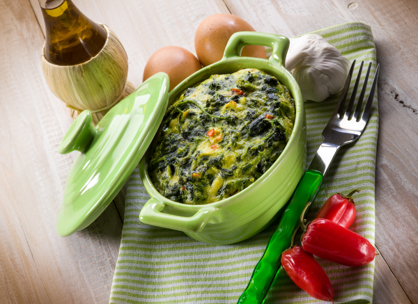 casserole, pie, spinach and turnip top