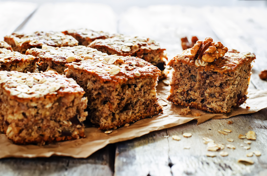 oatmeal cake, dates and walnuts