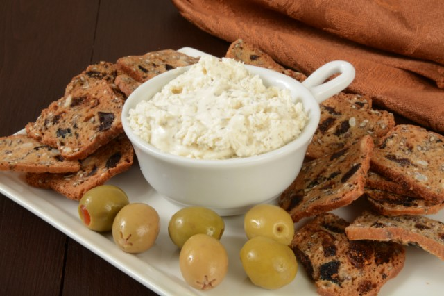 Fig, olive crackers with cream cheese dip