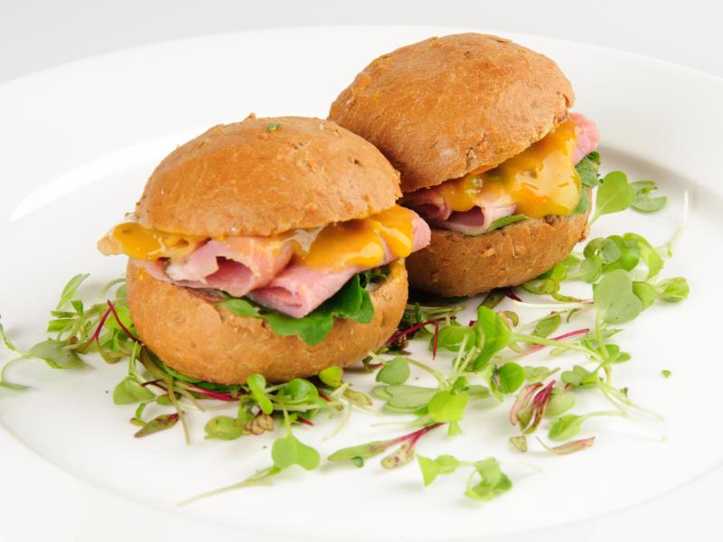 Rye Roll sandwiches, ham, cheese