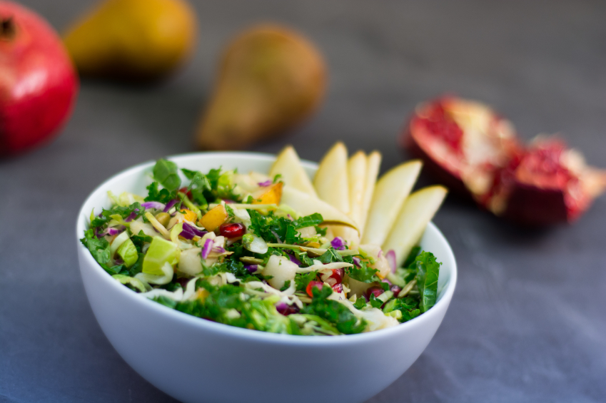 kale salad with apple and pomegranate