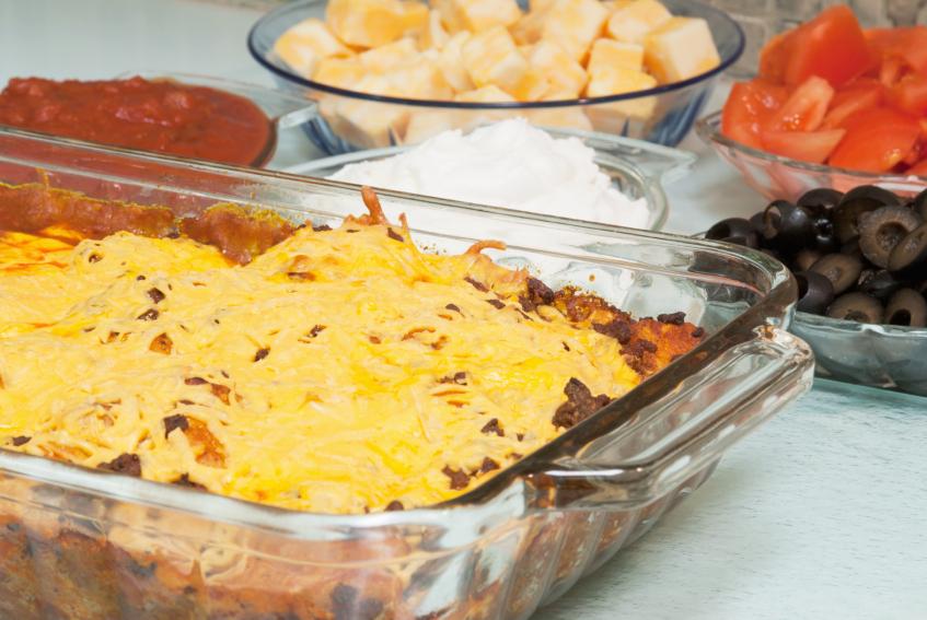 Casserole, taco dip, cheese, tortilla