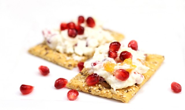 Cheese and crackers, pomegranate seeds