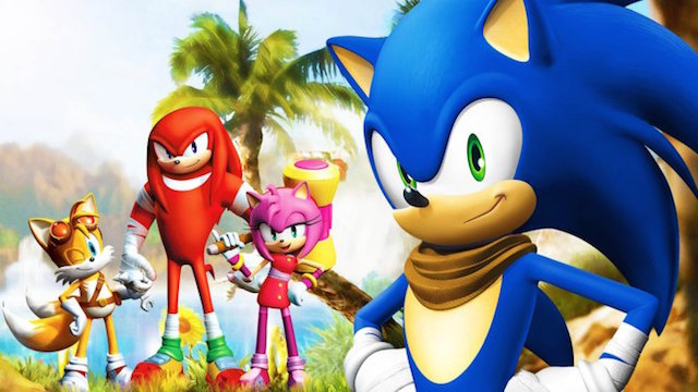 Sonic and his friends Tails, Knuckles, and Amy.
