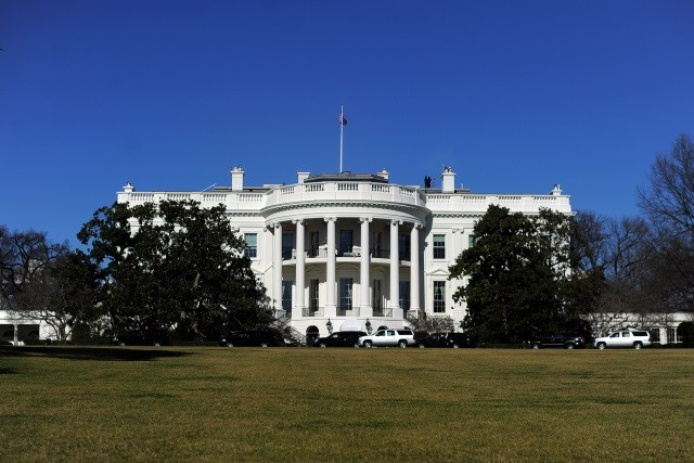 The White House seen on a clear blue sky.