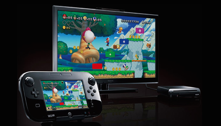 A Wii U and GamePad with Super Mario 3D World playing on it.