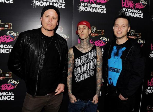 Musicians Tom DeLonge, Travis Barker and Mark Hoppus of Blink-182