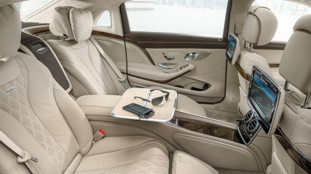 Backseat interior of a luxury car