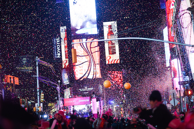 Revelers Celebrate New Year's Eve In New York's Times Square