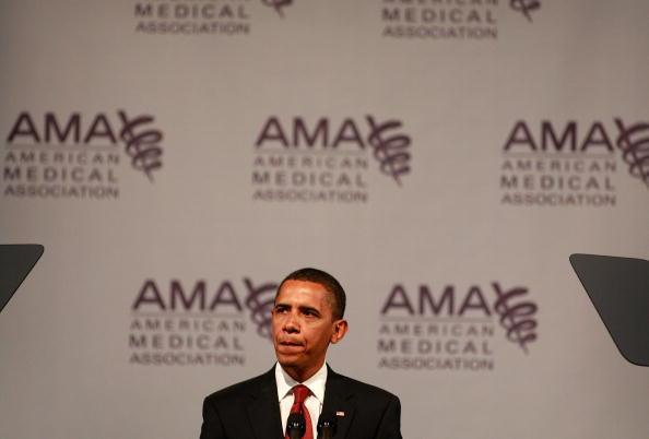 Former President Obama speaks to the American Medical Association